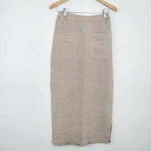 Eskandar Beige Linen Maxi Skirt 0 8